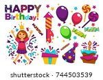 happy birthday greeting card or ... | Shutterstock .eps vector #744503539