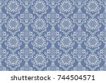 seamless ornament on background.... | Shutterstock .eps vector #744504571