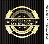 100  customer satisfaction gold ... | Shutterstock .eps vector #744505459