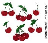 cherry illustration. vector... | Shutterstock .eps vector #744505537