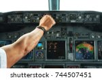 operating autopilot console on... | Shutterstock . vector #744507451
