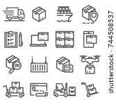 simple set delivery line icons. ... | Shutterstock .eps vector #744508537