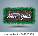 happy new year lettering on... | Shutterstock .eps vector #744509959