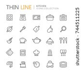 collection of kitchen thin line ... | Shutterstock .eps vector #744511225
