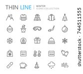 collection of winter thin line... | Shutterstock .eps vector #744511555