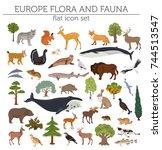 flat european flora and fauna... | Shutterstock .eps vector #744513547