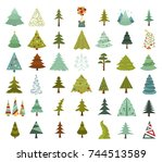 christmas tree icon set. flat... | Shutterstock .eps vector #744513589