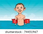 cartoon of a boy with armbands... | Shutterstock .eps vector #74451967