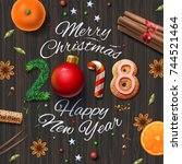 merry christmas  happy new year ...   Shutterstock .eps vector #744521464