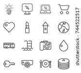 thin line icon set   bulb ... | Shutterstock .eps vector #744522517