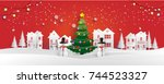 christmas tree with beautiful... | Shutterstock .eps vector #744523327
