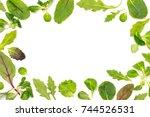 frame of different salad leaves ...   Shutterstock . vector #744526531