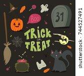 happy halloween background ... | Shutterstock . vector #744527491