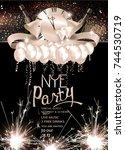 new year eve celebration... | Shutterstock .eps vector #744530719