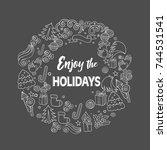 happy holidays vector text... | Shutterstock .eps vector #744531541