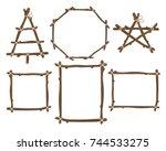 vector frames set. craft... | Shutterstock .eps vector #744533275