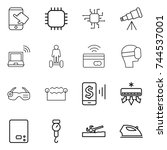 thin line icon set   touch ... | Shutterstock .eps vector #744537001