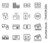 Thin Line Icon Set   Card  Coi...