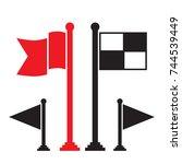 black flag and red flag vector... | Shutterstock .eps vector #744539449
