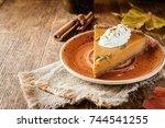 slice of festive homemade...   Shutterstock . vector #744541255