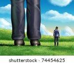 a regular sized businessman is... | Shutterstock . vector #74454625