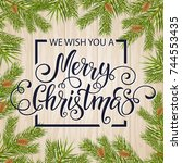 merry christmas hand drawn... | Shutterstock .eps vector #744553435