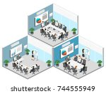 business meeting in an office... | Shutterstock .eps vector #744555949