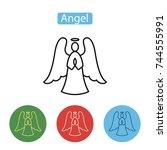 angel icon. christmas... | Shutterstock .eps vector #744555991