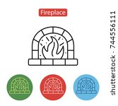 fireplace icon. christmas... | Shutterstock .eps vector #744556111