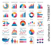 color finance data chart vector ... | Shutterstock .eps vector #744558847