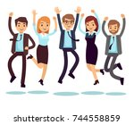 happy and smiling workers ... | Shutterstock .eps vector #744558859