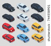 isometric 3d cars set isolated... | Shutterstock .eps vector #744558901
