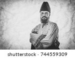young man wearing traditional... | Shutterstock . vector #744559309