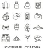 travel icons thin line vector... | Shutterstock .eps vector #744559381