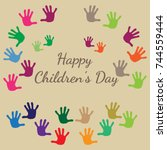 international children's day.... | Shutterstock .eps vector #744559444