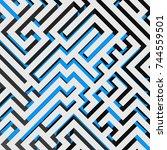aerial view of 3d maze... | Shutterstock .eps vector #744559501