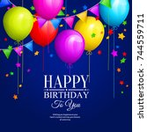 bunch of colorful birthday... | Shutterstock .eps vector #744559711