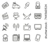 tv station icons thin line... | Shutterstock .eps vector #744560524