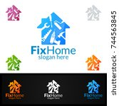 real estate logo  fix home... | Shutterstock .eps vector #744563845