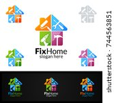 real estate logo  fix home... | Shutterstock .eps vector #744563851