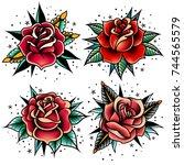 set of four oldschool tattoo... | Shutterstock .eps vector #744565579