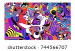 Vector Colorful Abstract Wallpaper Background. Various Fractal Shape and Layout Composition. Design Template for Poster, banner, and fabric print.