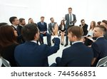 skilled coach asks questions to ... | Shutterstock . vector #744566851