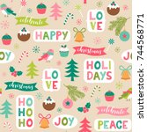 cute christmas elements and... | Shutterstock .eps vector #744568771