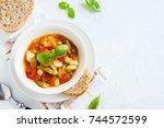 homemade italian minestrone...   Shutterstock . vector #744572599