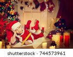 child writing christmas letter  ... | Shutterstock . vector #744573961