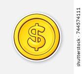 vector illustration. gold coin... | Shutterstock .eps vector #744574111