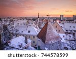 city landscape with snow... | Shutterstock . vector #744578599