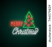merry christmas neon text.... | Shutterstock .eps vector #744579829
