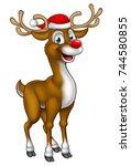 a cartoon christmas reindeer...   Shutterstock .eps vector #744580855